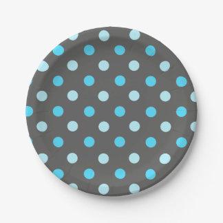 Blue Polka Dot Paper Plate