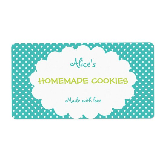 Blue Polka Dot Personalized Homemade Cookies