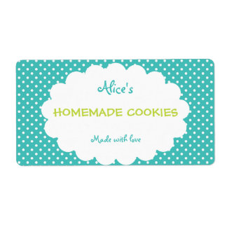 Blue Polka Dot Personalized Homemade Cookies Shipping Label