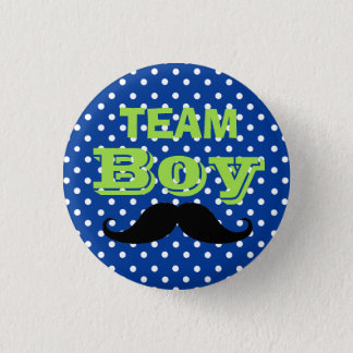 Blue Polka Dot Team Boy Baby Shower 1 Inch Round Button