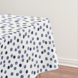 Blue polka dot . watercolor tablecloth