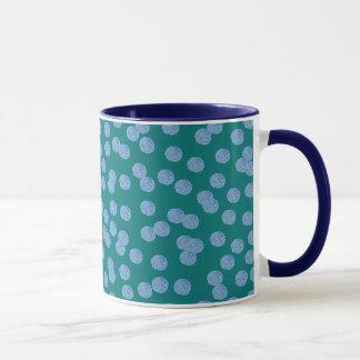 Blue Polka Dots 11 oz Ringer Mug
