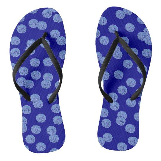 Blue Polka Dots Adult Slim Straps Flip Flops
