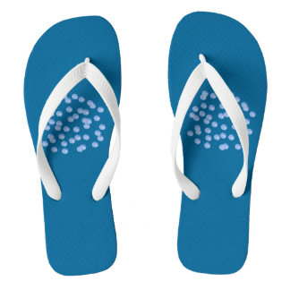 Blue Polka Dots Adult Wide Straps Flip Flops