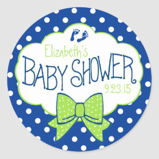 Blue Polka Dots and Green Bow Baby Shower Round Sticker