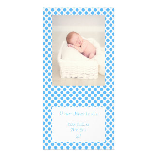 Blue Polka Dots Baby Announcements Card