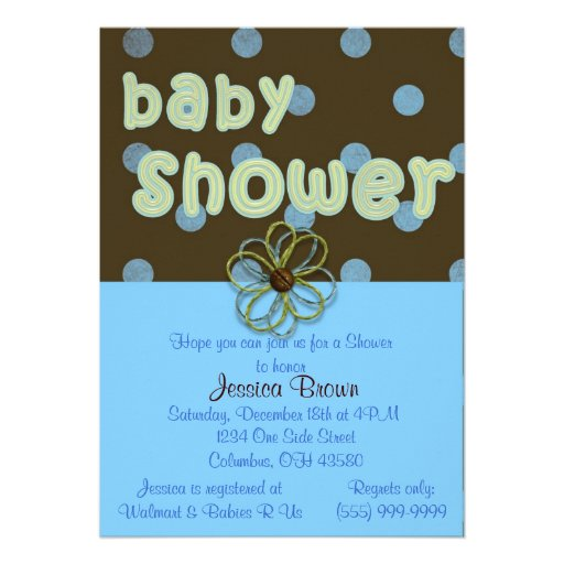 Blue Polka Dots Baby Shower Invitation