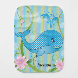 Blue Polka Dots Baby Whale Burp Cloth