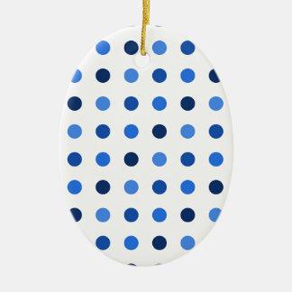 Blue polka dots ceramic ornament