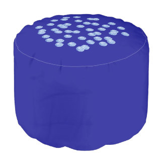 Blue Polka Dots Cotton Round Pouf