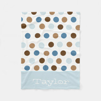 Blue Polka Dots Fleece Blanket