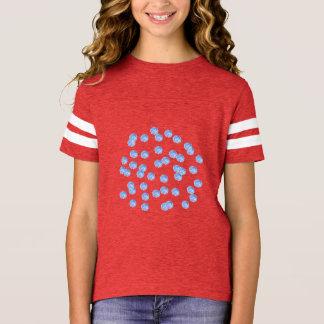 Blue Polka Dots Girls' Football T-Shirt