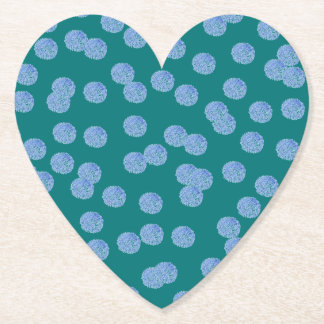 Blue Polka Dots Heart Paper Coaster