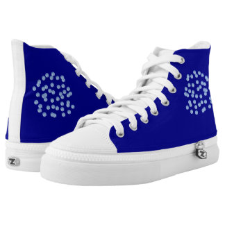 Blue Polka Dots High Top Shoes