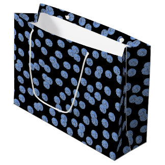 Blue Polka Dots Large Glossy Gift Bag