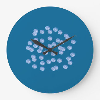 Blue Polka Dots Large Round Wall Clock