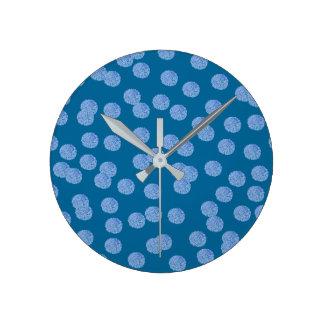 Blue Polka Dots Medium Round Wall Clock