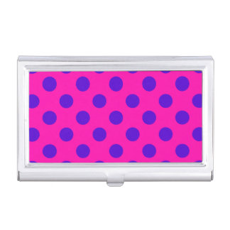 Blue polka dots on fuchsia business card case