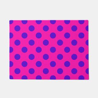 Blue polka dots on fuchsia doormat