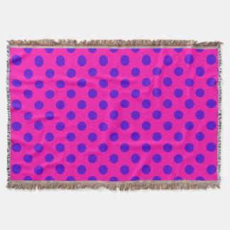 Blue polka dots on fuchsia throw blanket