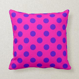 Blue polka dots on fuchsia throw pillow