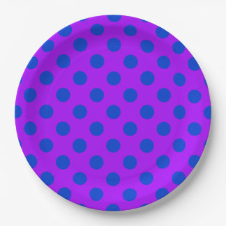 Blue polka dots on purple 9 inch paper plate