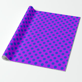 Blue polka dots on purple wrapping paper