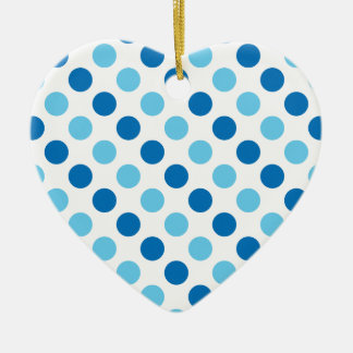 Blue polka dots pattern ceramic ornament