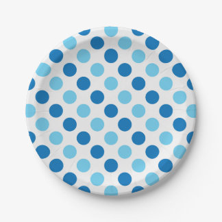 Blue polka dots pattern paper plate