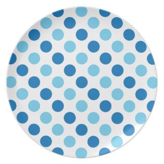 Blue polka dots pattern plate