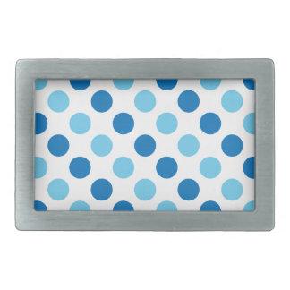 Blue polka dots pattern rectangular belt buckle