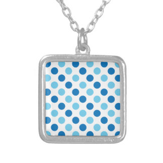 Blue polka dots pattern silver plated necklace