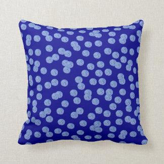 Blue Polka Dots Polyester Throw Pillow 16'' x 16''