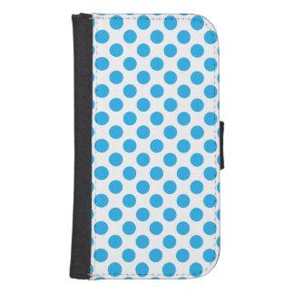 Blue Polka Dots Samsung S4 Wallet Case