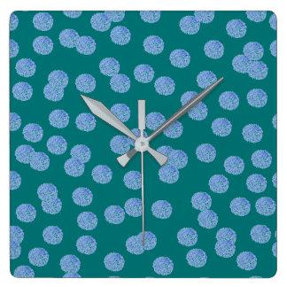 Blue Polka Dots Square Wall Clock