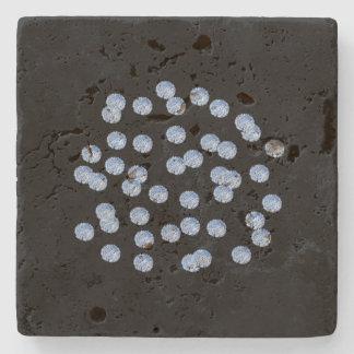 Blue Polka Dots Travertine Coaster Stone Beverage Coaster