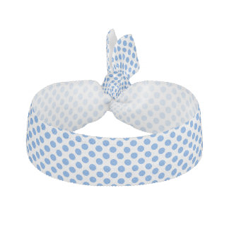 Blue Polka Dots with Customizable Background Elastic Hair Tie