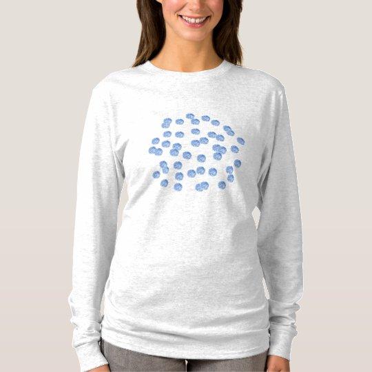 Blue Polka Dots Women's Basic Long Sleeve T-Shirt