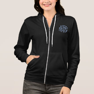 Blue Polka Dots Women's Full-Zip Hoodie