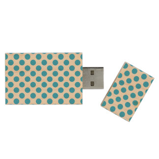 Blue Polka Dots Wood USB 3.0 Flash Drive