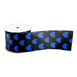 Blue polka hearts on black satin ribbon