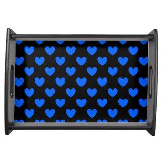 Blue polka hearts on black serving tray