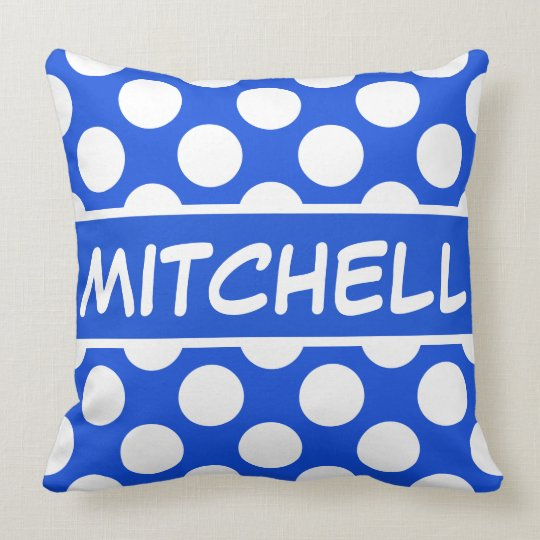 Blue Polkadot CP Personalized Throw Pillow