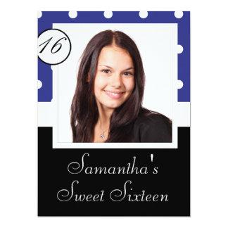 """Blue polkadot sweet sixteen 6.5"""" x 8.75"""" invitation card"""