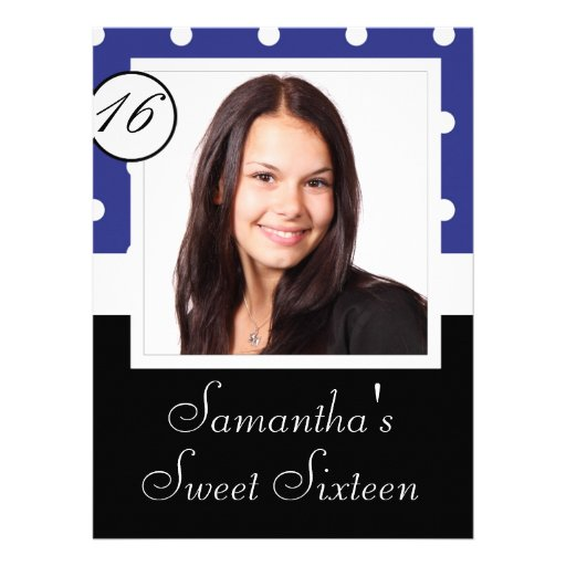Blue polkadot sweet sixteen personalized announcements
