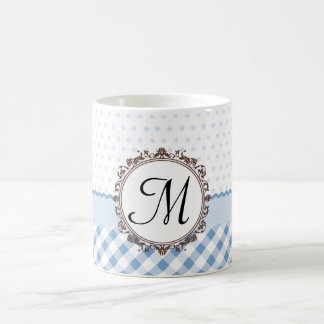 Blue Polkadots, Checks and Stripes with Monogram Coffee Mug