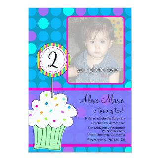 "Blue Polkadots Cupcake Birthday 5"" X 7"" Invitation Card"