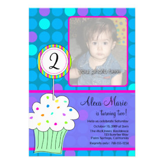 Blue Polkadots Cupcake Birthday Custom Invitations
