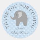 Blue polkadots grey elephant baby shower stickers