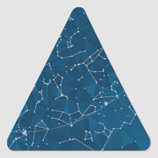 Blue Polygon Night Sky Triangle Sticker